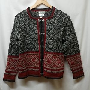 L.L. Bean- Vintage Nordic Wool Cardigan Sweater